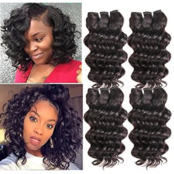 Peruvian Loose Deep Hair Weaves 3 Bundle With Closure Natural Color Loose Curly Ocean Wave Human Hair Free Middle 3 Part Closure Fine Craftsmanship Human Hair Weaves Hair Extensions & Wigs