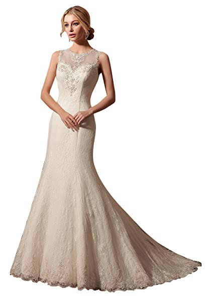 Kevins Bridal Mermaid Lace Wedding Dress 2017 Straps Long Gown