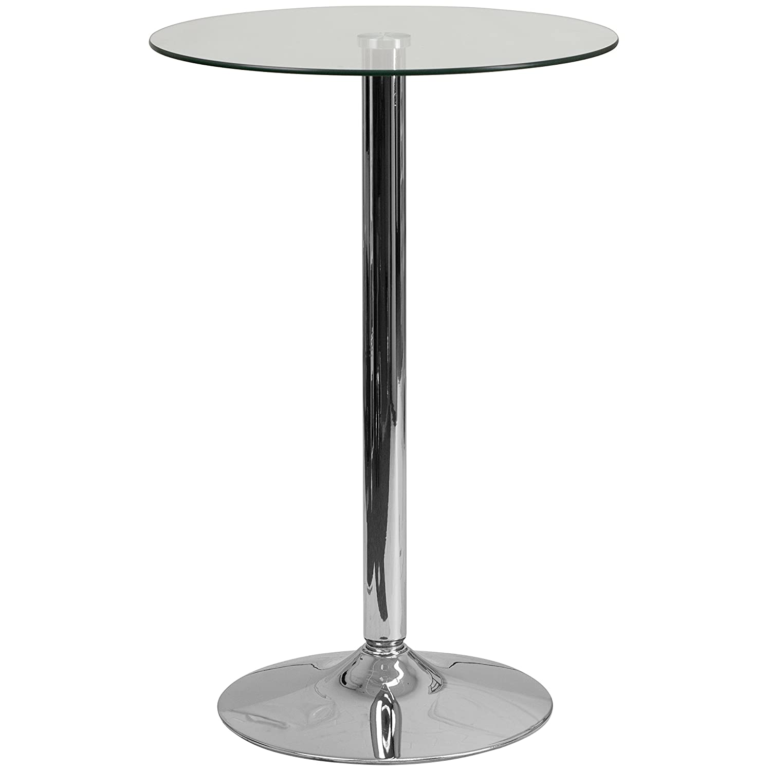 Flash Furniture 23.5'' Round Glass Table with 35.5''H Chrome Base CH-6-GG