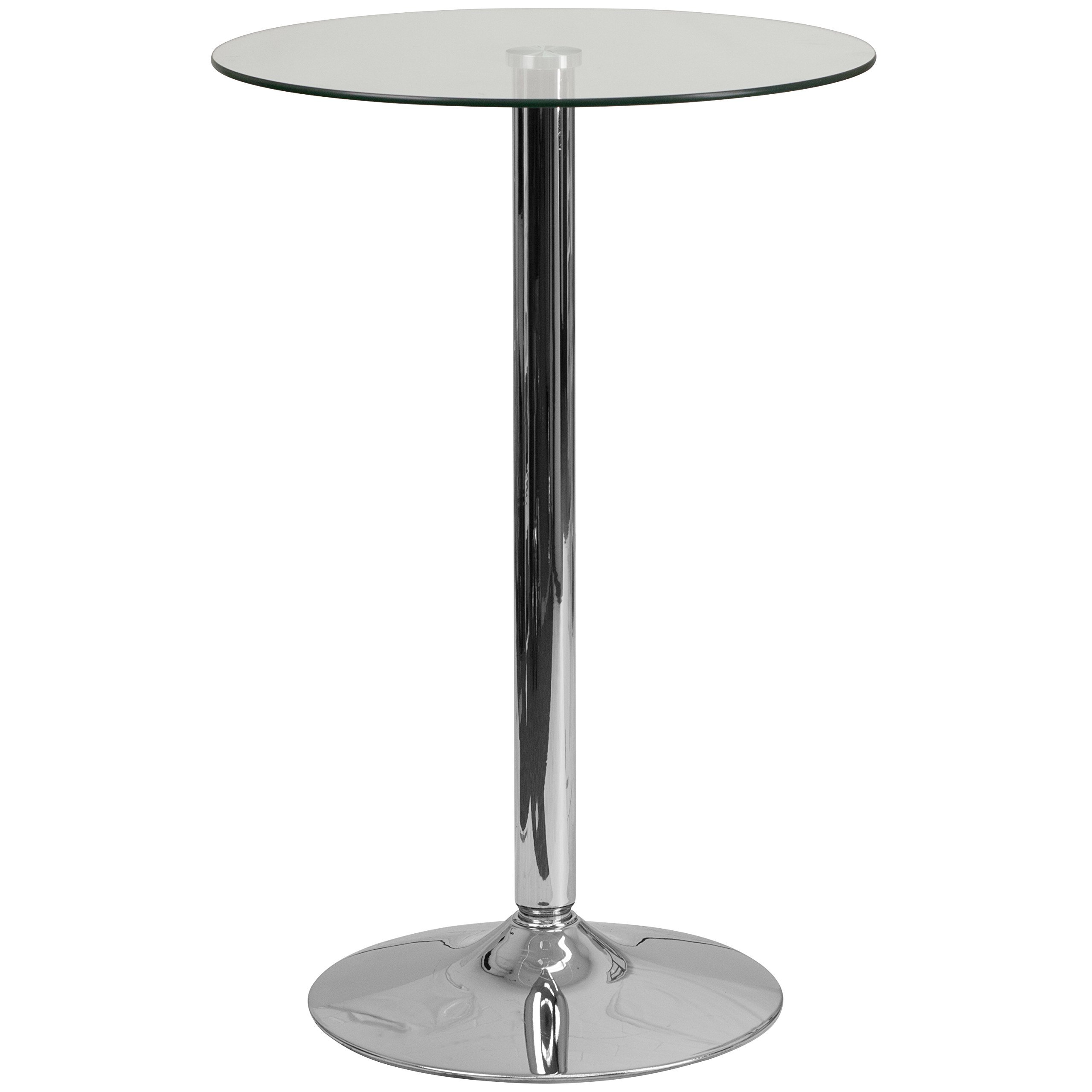 Flash Furniture 23.5'' Round Glass Table with 35.5''H Chrome Base by Flash Furniture