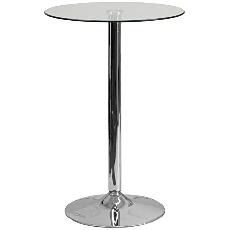 Flash Furniture 23.5 Round Glass Table with 35.5 H Chrome Base