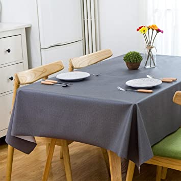 LeeVan Heavy Weight Vinyl Rectangle Table Cover Wipe Clean PVC Tablecloth,  Plastic Square Table Cloth