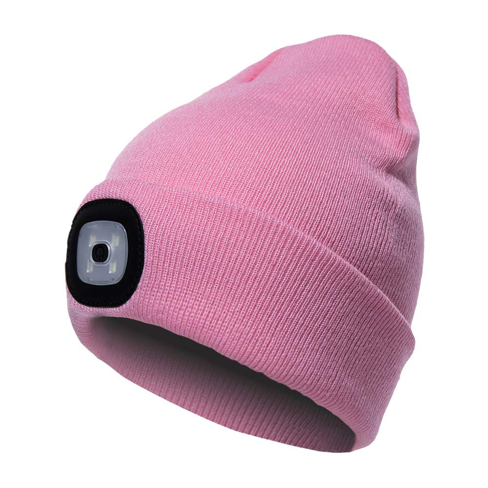 Camping,Walking Pink LED Beanie Hat with Light,Unisex USB Rechargeable Hands Free 4 LED Headlamp Cap Winter Knitted Night Lighted Hat Flashlight Women Men Gift for Hiking Biking
