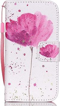 Meet de Protectora Estuche Para Samsung Galaxy S5 Mini / S5mini Tapa Funda Book Style móvil Flip Cartera De PU Cuero Funda Protectora uno flores de color rosa: Amazon.es: Electrónica