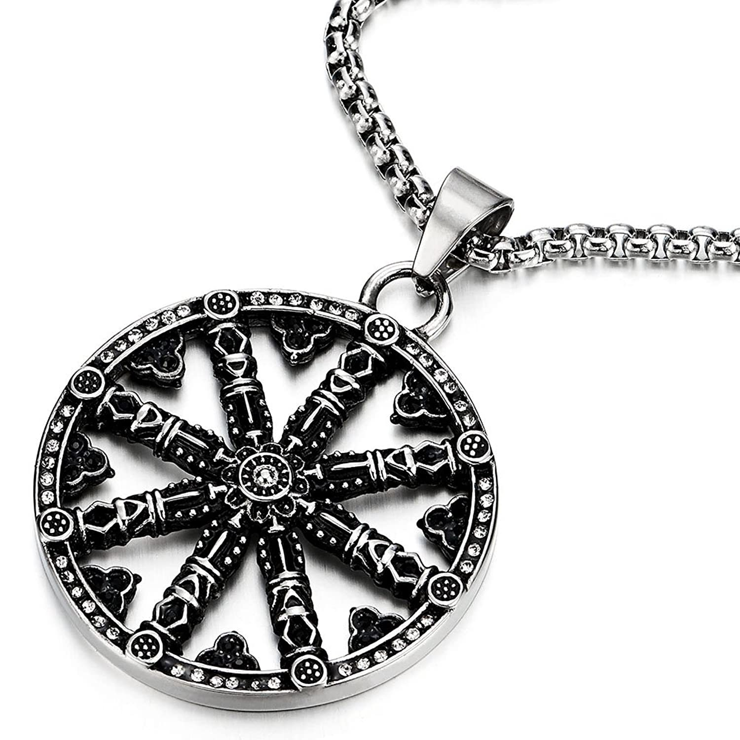 Amazon mens large steel dharma chakra pendant dharma wheel of amazon mens large steel dharma chakra pendant dharma wheel of law buddhist symbol necklace with 30 in chain jewelry aloadofball Choice Image