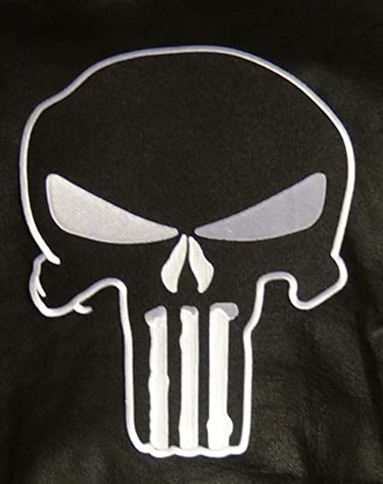 THE PUNISHER Black White Embroidered Iron On sew On Patch
