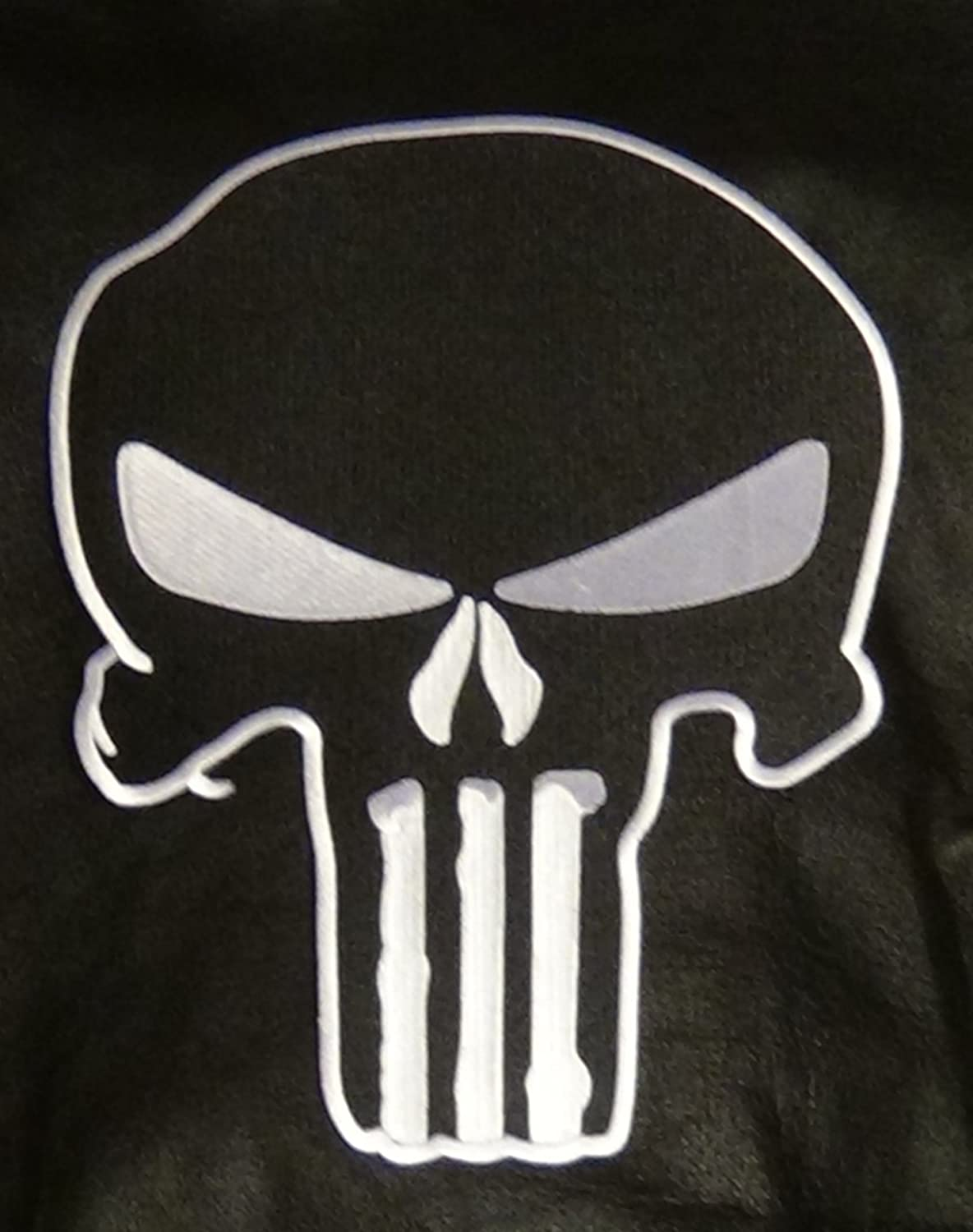 Large Biker Jacket Patch Punisher Skull Patch Iron or Sew on 100% Embroidered Black/white Fan Shop