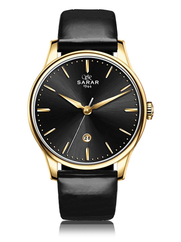 SARAR-TIME Classic-Black SR-2138 Echtleder