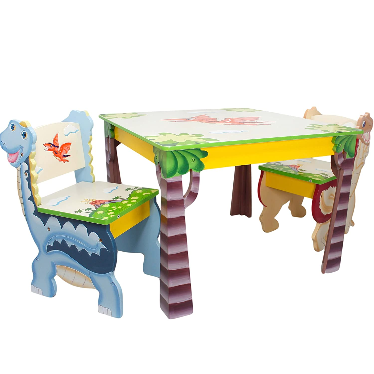Amazon.com: Fantasy Fields   Dinosaur Kingdom Thematic Hand Crafted Kids  Wooden Table And 2 Chairs Set | Imagination Inspiring Hand Crafted U0026 Hand  Painted ...