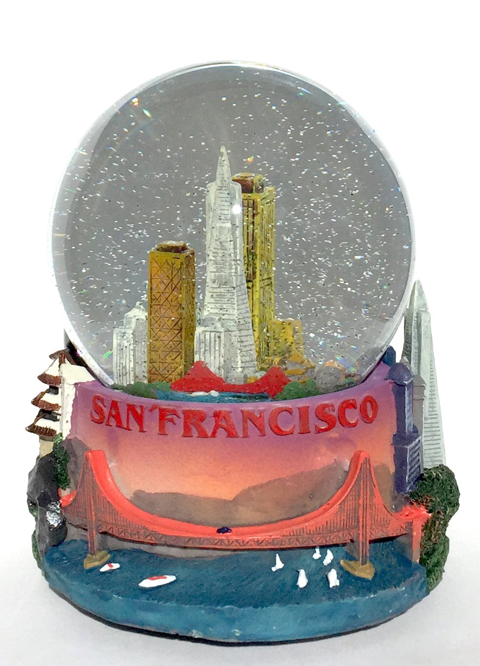 San Francisco Cityscape 100mm Musical Snow Globe Golden Gate Bridge Skyline replica Glitterdome