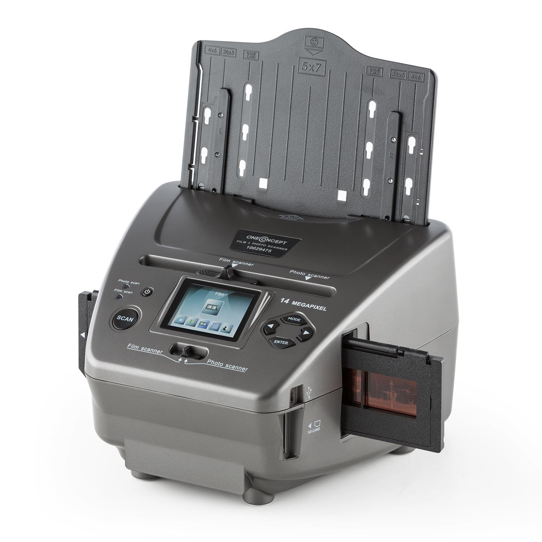 Oneconcept 179B • Escáner de fotos y diapositivas combinado • Procesador de fotografía • Presentación de diapositivas • Negativos 35 mm • Mini USB 2.0 • Ranura SD • Independencia del ordenador • Gris TG-2400-oscg