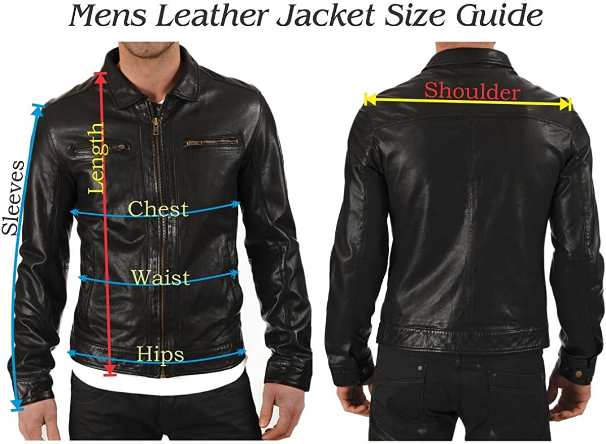 Mens Stylish Motorcycle Biker Genuine Lambskin Leather Jacket 83