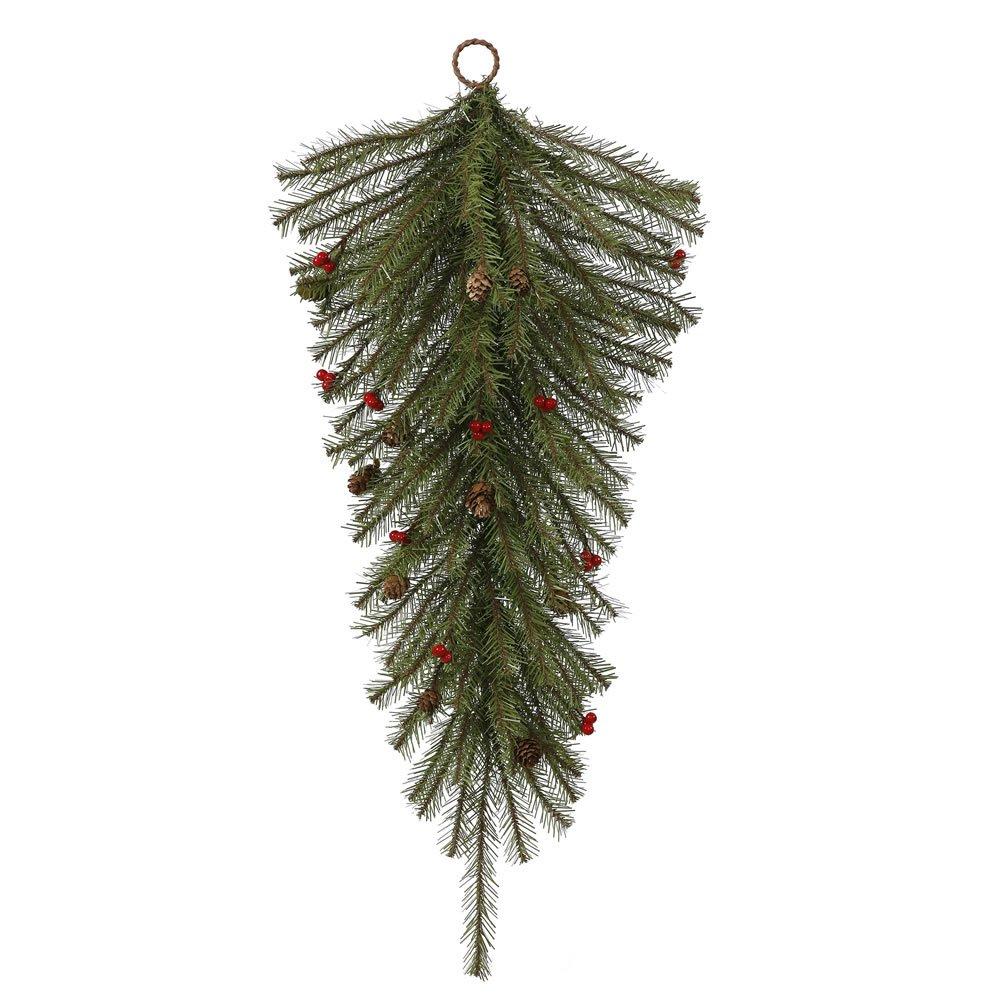 Vickerman 30'' Fresh Pistol Berry Pine Teardrop with 35 Clear Lights
