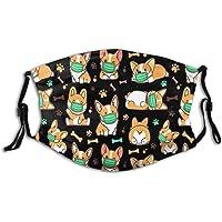 Sunflower Corgis Dog- Face Mask, Fashionable Funny Dog Balaclavas Dustproof-Washable& Reusability With 2 Filters