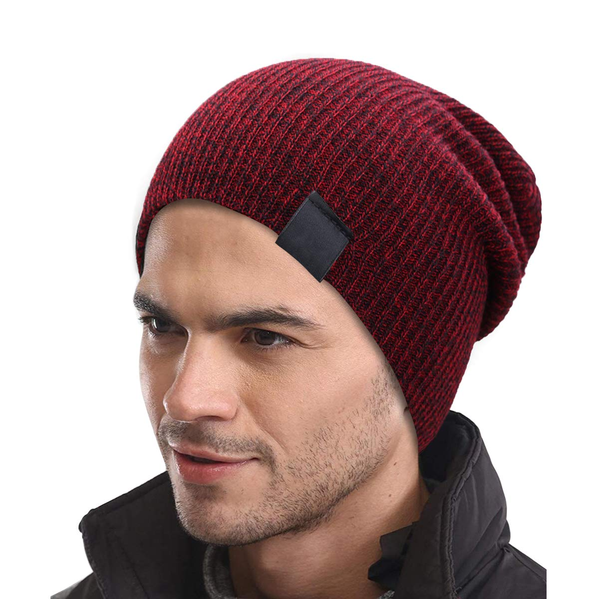 Rehomy Unisex Winter Warm Knit Hat Outdoor Baggy Beanie Cap Slouchy Ski Cap for Cycling Running Walking