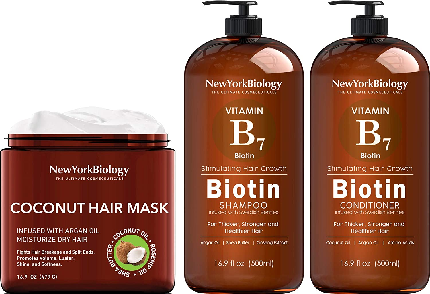New York Biology Coconut Hair Mask & Biotin Shampoo and Conditioner Set for Hair Growth and Volume – Anti Dandruff Thickening Shampoo for Hair Loss and Thinning Hair – Moisturizing Dry Hair Treatment
