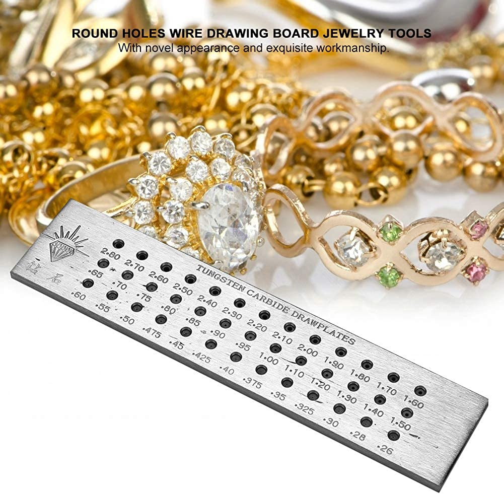 Jewelry Wire Drawplate 4 Type Holes Round Gold Silver Wire Drawing Board Carbon Steel Drawplate Jewelry Wire Drawplate for Jewelry Making Tool