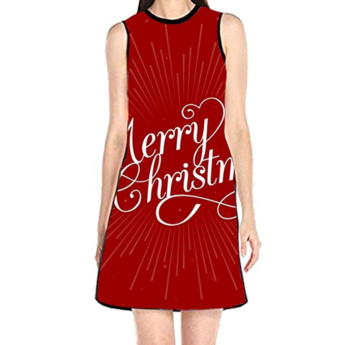 1ea8009b6daf4 Image Unavailable. Image not available for. Color: Shift Dress Sleeveless  Tank Dresses Merry Christmas ...