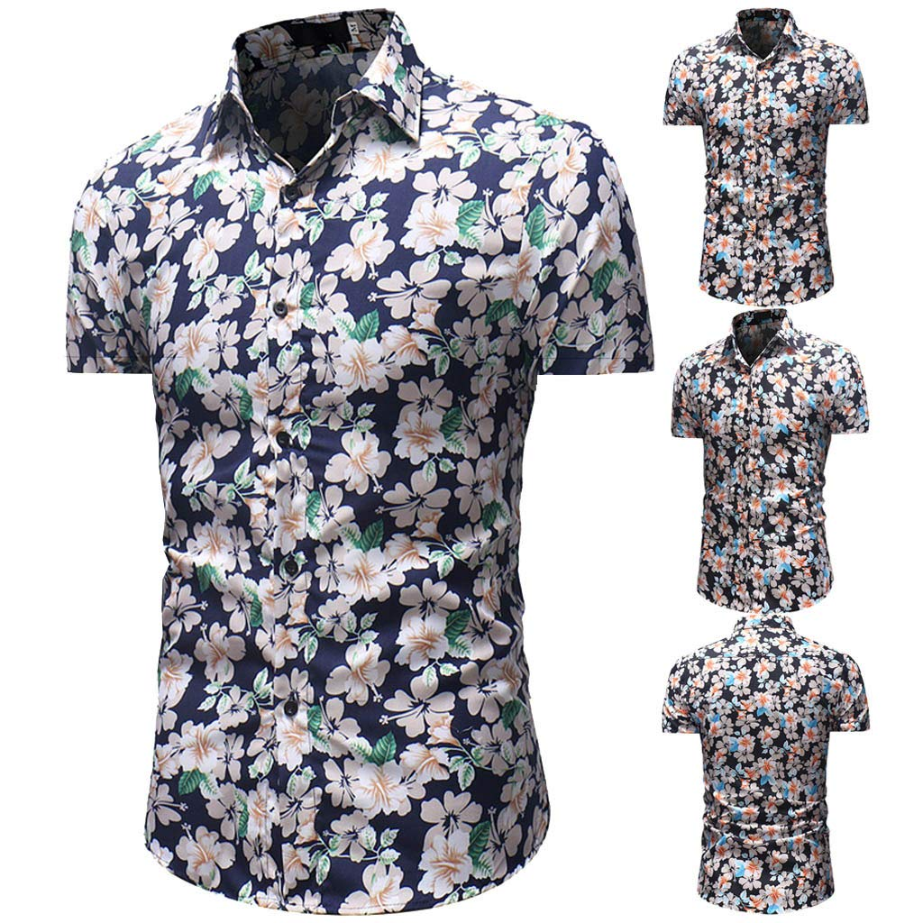 STORTO men Floral Paisley Printed Dress Shirt Slim Fit Casual Shirt Short Sleeve Button Down Shirts