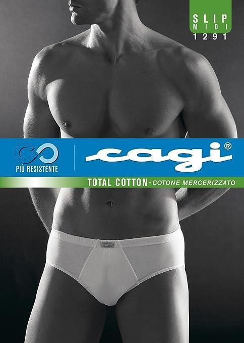 4 5 6 7 8 CAGI 6 Slip Midi Uomo Sport Mutanda Art 1291 100/% Cotone Bianco TG