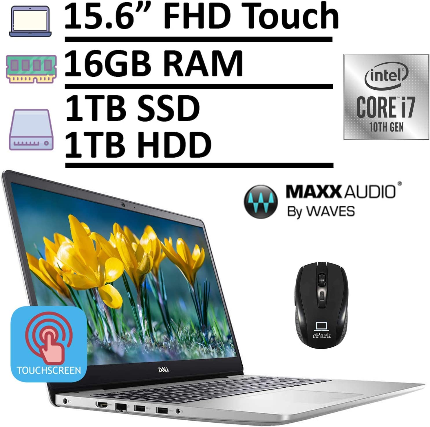 "2020 Latest Dell Inspiron 15 5000 5593 Laptop, 15.6"" FHD 1080p Touchscreen, 10th Gen Intel Core i7-10510U 16GB RAM 1TB SSD + 1TB HDD, MaxxAudio Pro Backlit KB Win 10 + ePark Wireless Mouse"