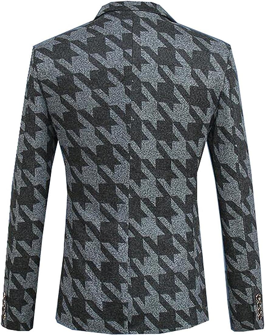 Spyman Fashion Mens Stylish Silm Fit Lapel Printed Long Sleeves Blazer