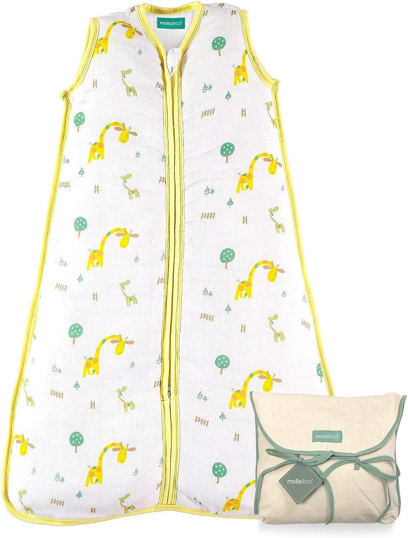 Saco de Dormir para beb/é Ideal para Verano 0.5 TOG Muselina Premium. molis/&co S/úper Suave y Ligero