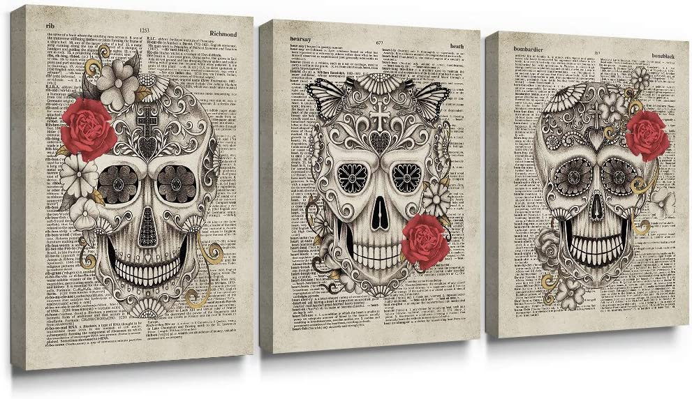 SUMGAR Canvas Wall Art Bedroom 3 Piece Red Flower Paintings Vintage Dictionary Pictures Steampunk Skull Prints Artwork,12x16 in