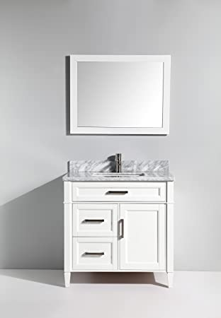Vanity Art 36 Inch Bathroom Vanity Set With Carrara Marble Stone