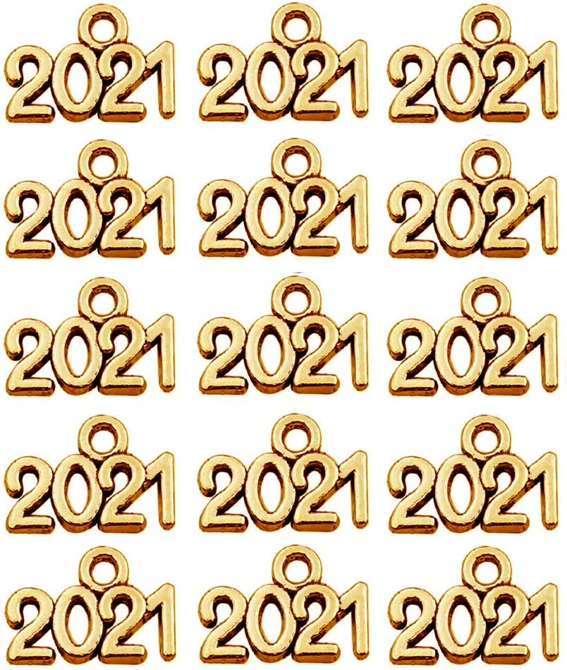 100 Piece Mini 2021 Charms Year Signet Bulk Antique Number Pendants for Jewelry Making Finding Craft Accessories Necklace Bracelets Keychain DIY Project Christmas Decor (M625-KC Gold)