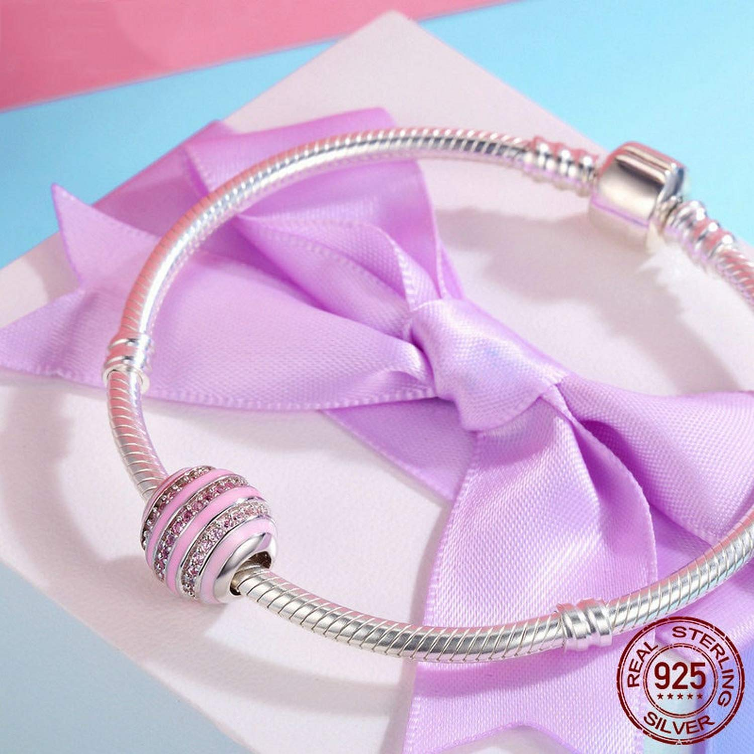 EverReena Bracelets Beads for Womens Sweet Pink Attraction Youth Girl