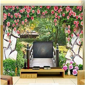 Gwrdnjpjc Mural De Pared 3D Jardín De Flores Pared Puente De Madera Paisaje Foto Papel Pintado Dormitorio Tv Telón De Fondo Papel De Pared Para Paredes 3D @ 320X240Cm: Amazon.es: Bricolaje y