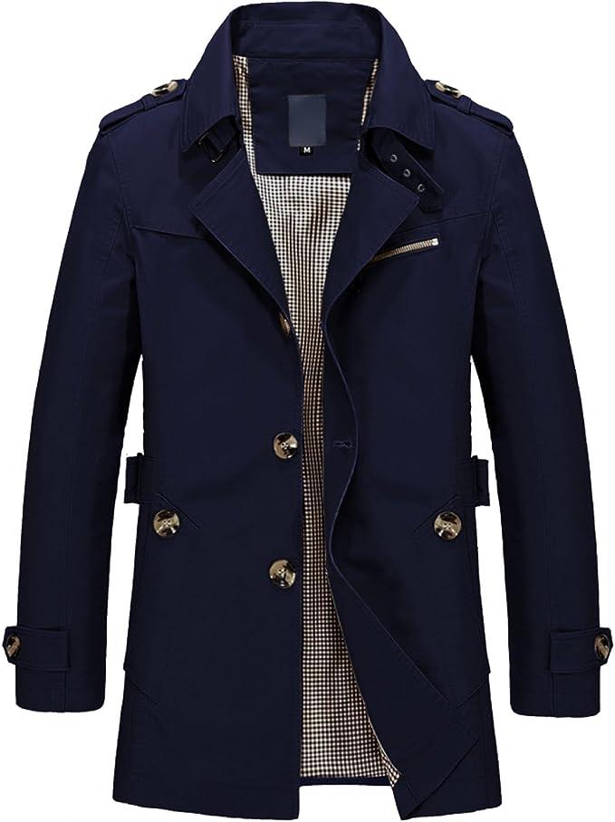 YYZYY Homme Double Boutonnage Trench Coat Manteau Long
