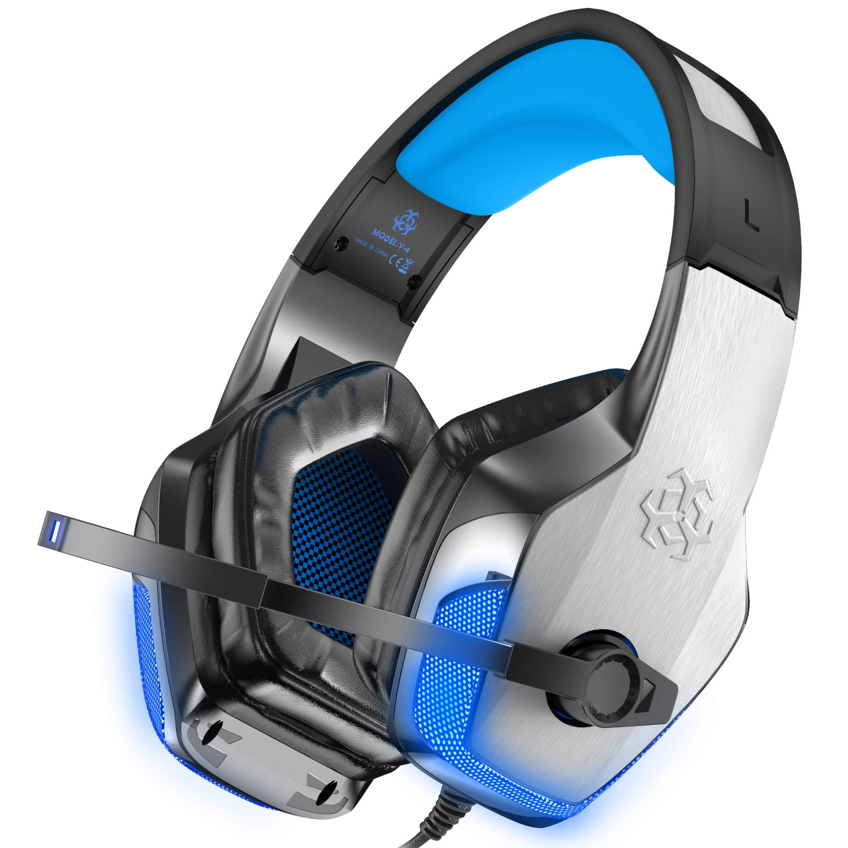 BENGOO V-4 [Updated] Gaming Headset for Xbox One, PS4, PC, Controller, Noise Cancelling Over Ear Headphones with Mic, LED Light Bass Surround Soft Memory Earmuffs for Mac Nintendo Switch (Blue) by BENGOO