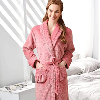 Albornoces GAOLILI Pijamas de invierno señora pijama engrosamiento manga larga dormir robe ropa para el hogar