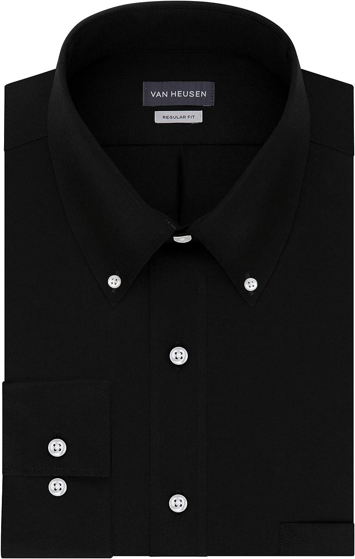 -BLACK-L Van Heusen mens Long-Sleeve Dress Twill 13V521