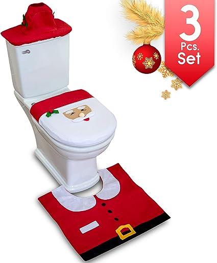 About1988 Weihnachten WC Abdeckmatte Weihnachten Toilettensitzbezug Weihnachtsdeko WC Sitze Set mit Sitzbezug f/ür Badezimmer im Weihnachtsmann Design Wie Gezeigt