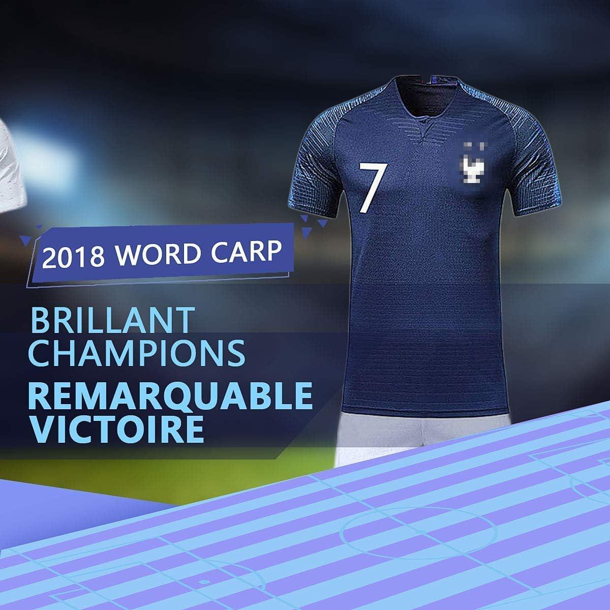 Rongli Maillots de Football T-Shirt 2 /Étoiles V/êtements de Football avec Chaussettes et Accessoires Chemise de Football pour Hommes Enfants