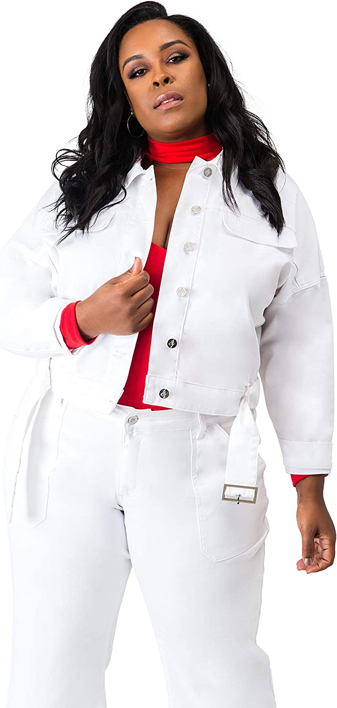 Women/'s  Plus Size Moto Stretch Jeggings in White