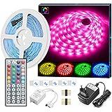 Striscia LED RGB 5M, Minger LED Striscia 5050 Cambiamento di colore Non Impermeabile Kit completo con 44 tasti Telecomando IR & alimentatore Led Strip illuminazione per Giardino, Bar, Festa, ecc