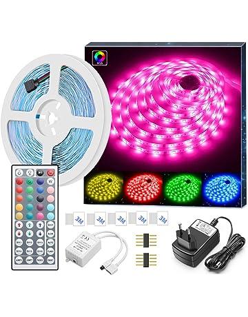 Tiras LED RGB 5050 5M, Minger Tira Led Iluminación Multicolor con Control Remoto de 44