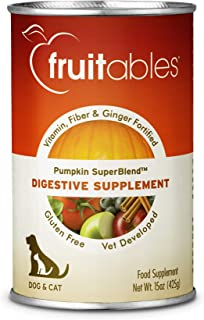 product image for Fruitables Pumpkin Dog Digestive Supplement, with Vitamin, Fiber and Ginger Fortified, 15-Ounce Can