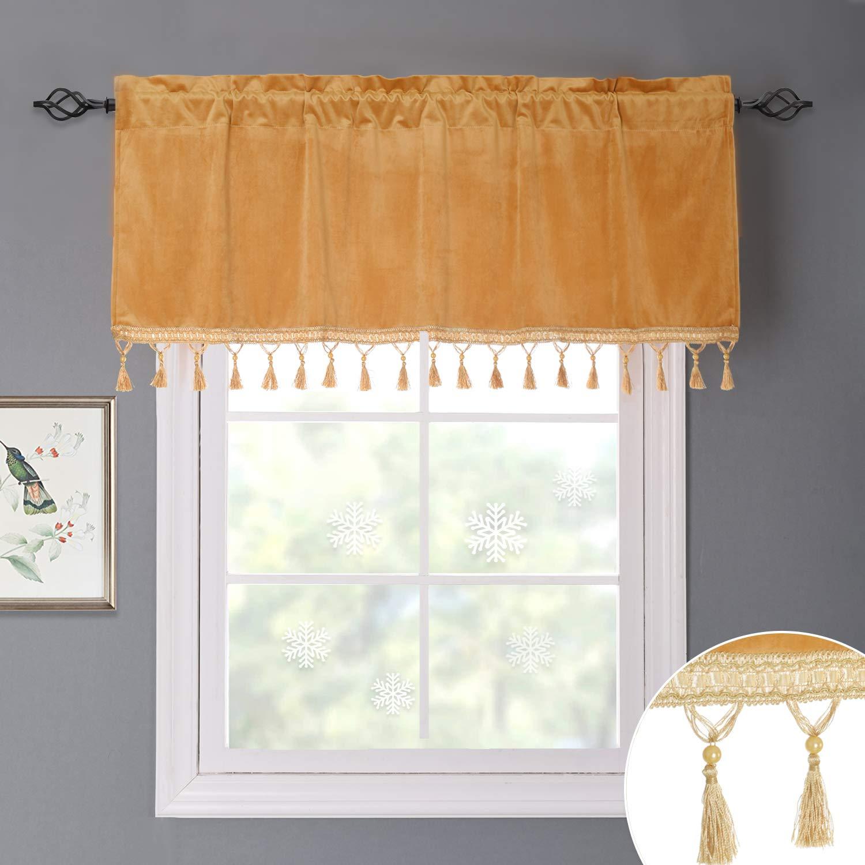 orange gold Tassels Valance 18 L Bedroom Blackout Velvet Curtain Panels - 96 Inch Thick Soft Velvet Drapes with Rod Pocket & Back Tab Window Covering for Front Sliding Door, Peacock bluee, W52 x L96 Per Panel, 2 Pcs