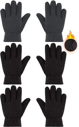 3 Pairs Kids Fleece Gloves Full Fingers Gloves Winter Soft Warm Gloves for Boys Girls Outdoors Activities Supplies