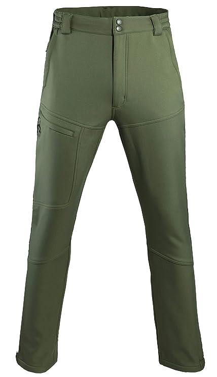Men s Softshell Fleece Lined Snow Pants - Windproof Waterproof Outdoor  Trousers Army Green aea9d9650619