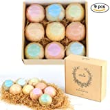 Efloral Bath Bombs Set Kit Natural Series Of 9 Mixed Color Large Relax Spa Bomb Fizzies Mild Super Nice Scents Individually Wrapped Ultra Premium Handmade 4.2oz (multi-B)