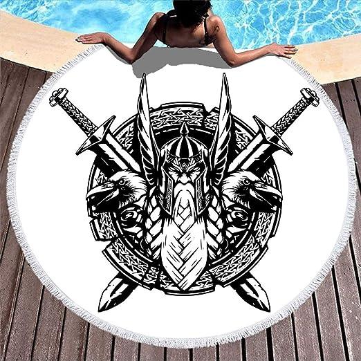 Chubasquero negro vikingo Odin guerreros cubos espadas esbozado ...