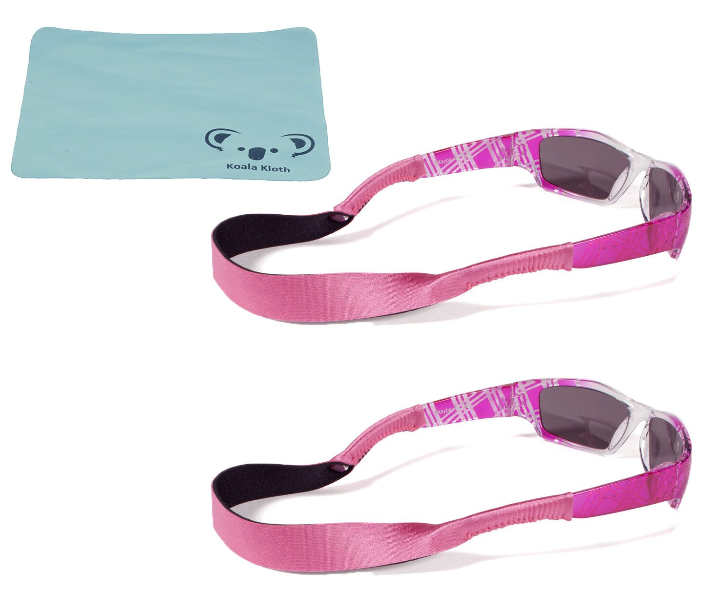 Croakies Kids Neoprene Eyewear Retainer Childrens Glasses Strap | Eyeglass and Sunglass Holder | Boys and Girls Sports Use | 2pk Bundle + Cloth, Pink