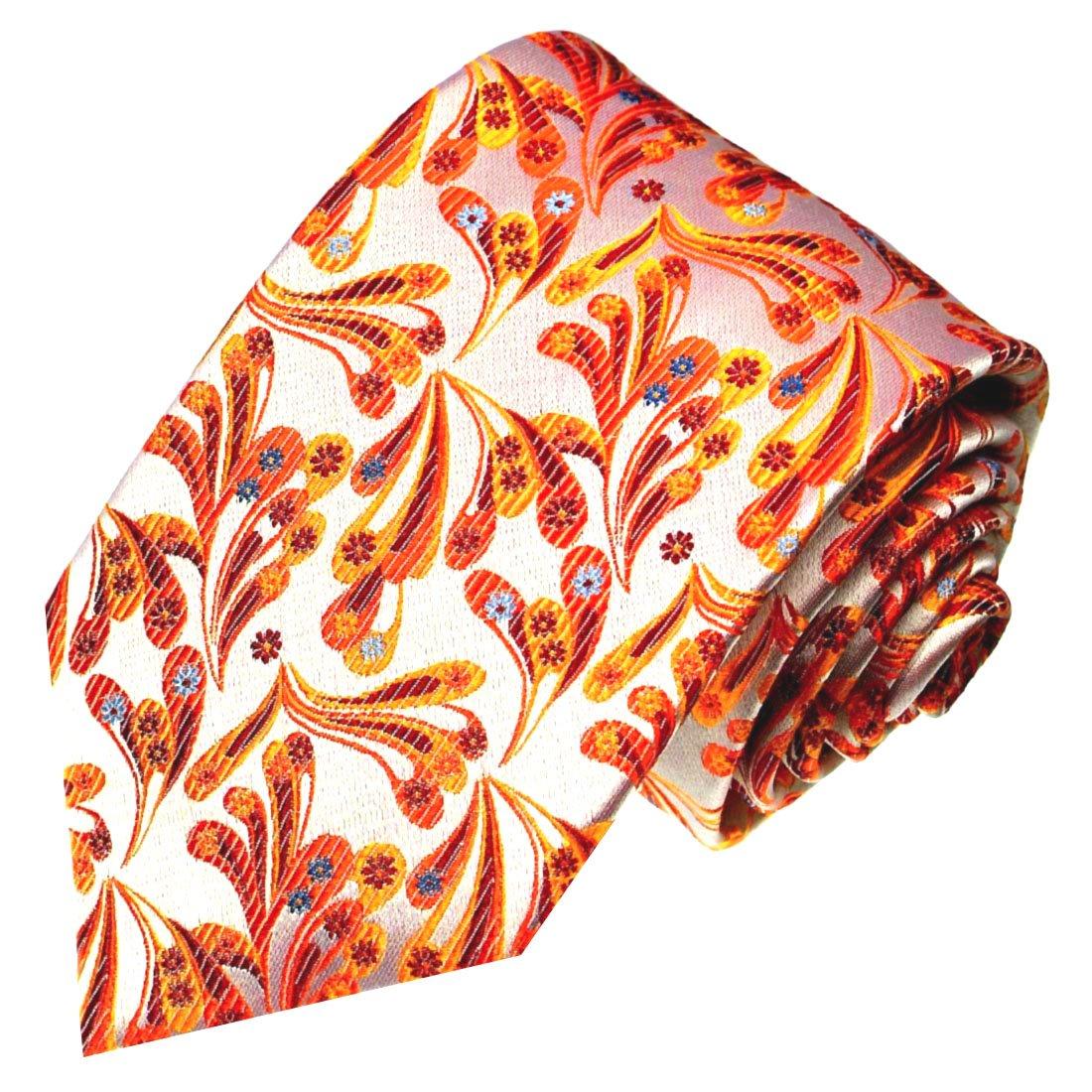 Luxury Italian 100/% Pure Silk Tie Jacquard Woven Necktie Pink Orange Patterned 84209 LORENZO CANA