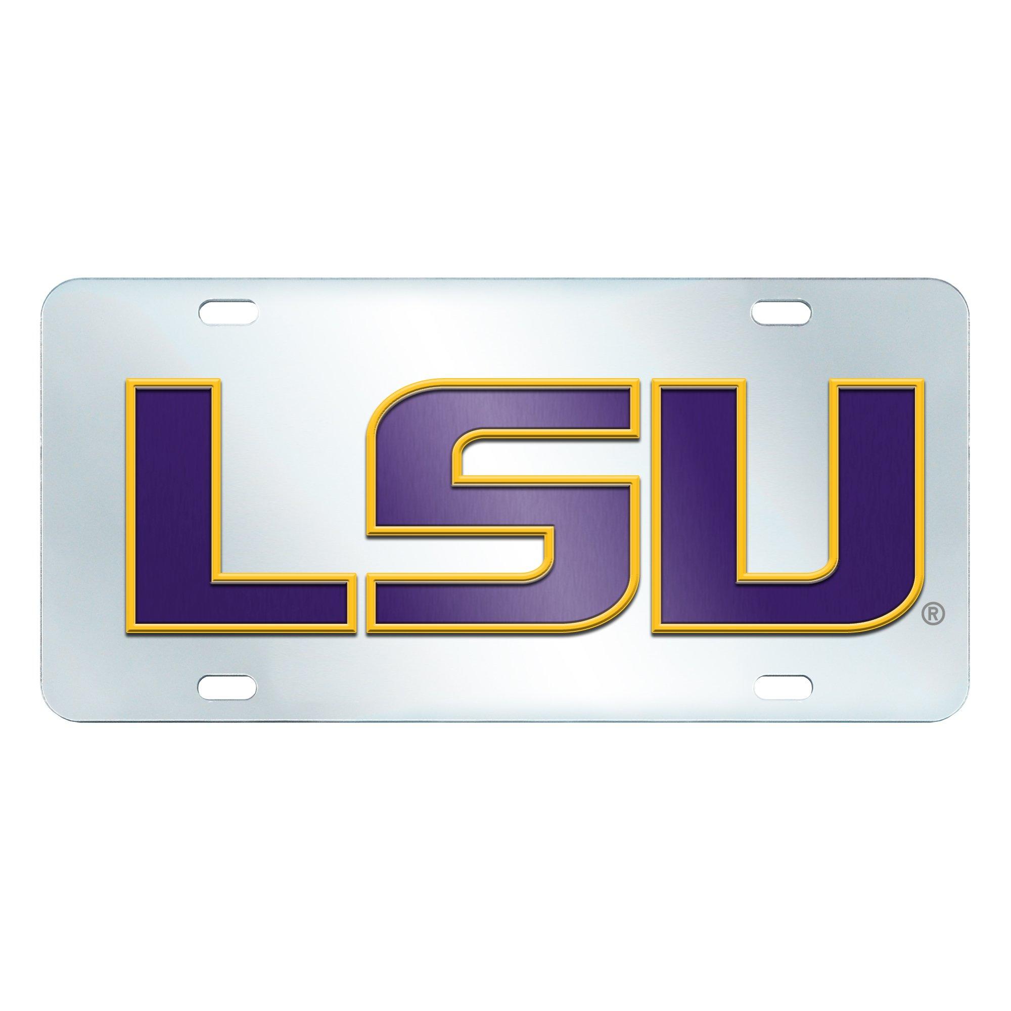 FANMATS NCAA Louisiana State University Tigers Plastic License Plate (Inlaid)